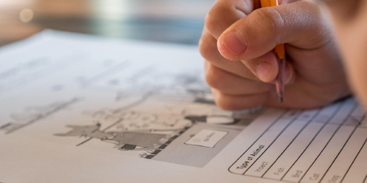 mão de criança escrevendo em papel